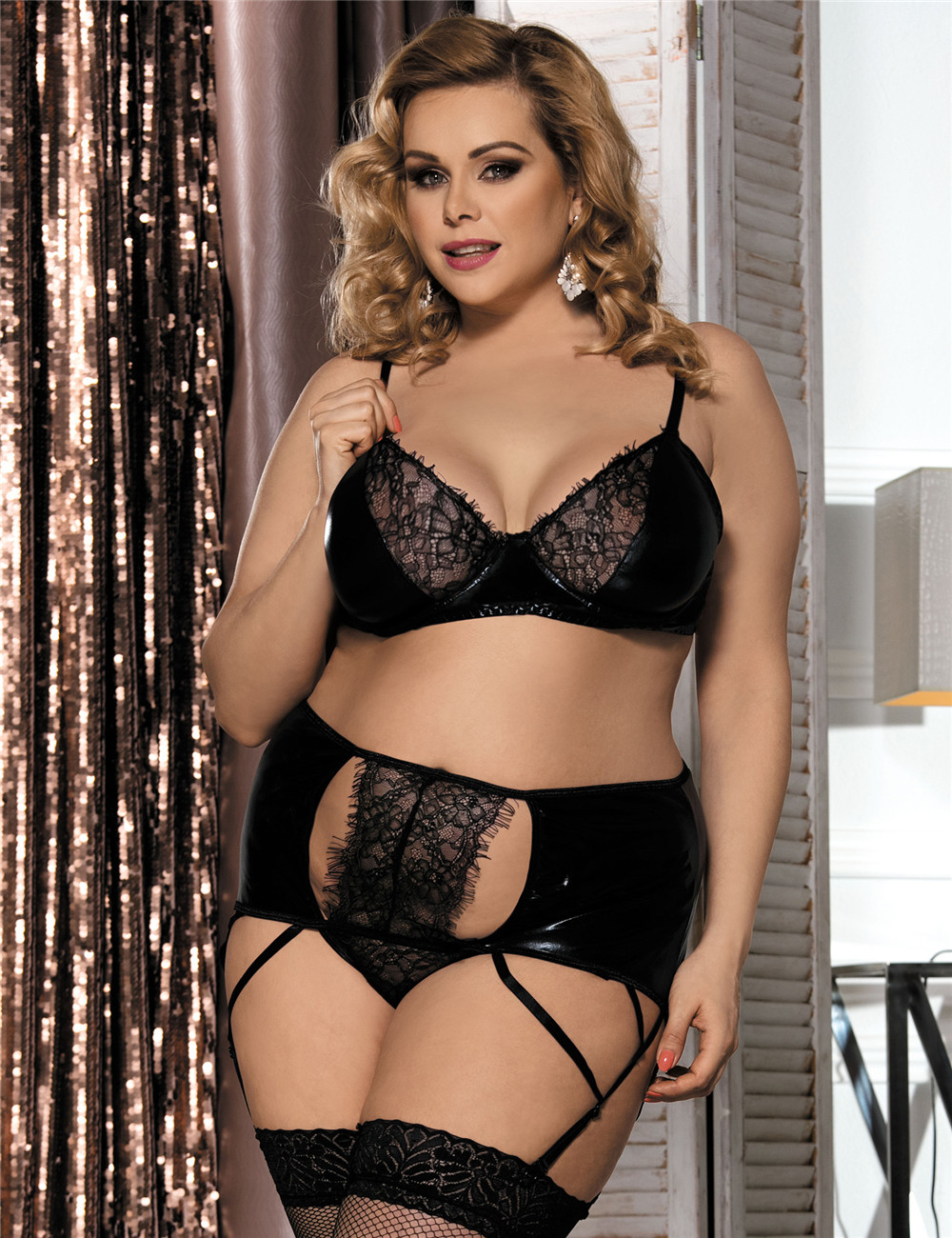 Hot Sale Cheap Wholesale Plus Size Leather Lingerie Plus