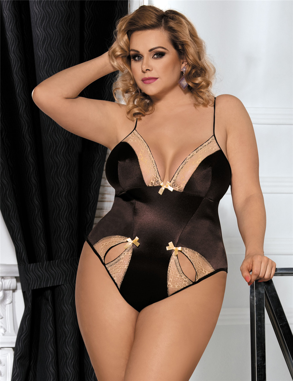 Sexy Hot Brown Teddy With Two Holes Front For Fat Women